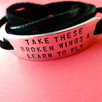 Leather Wrap Bracelet  Take these broken wings & by TesoroJewelry