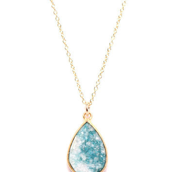 Druzy necklace -Rare two tone green and white gold overlay teardrop druzy stone necklace on 14k gold fill chain