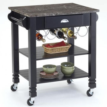 Black and Marble Top Kitchen Island