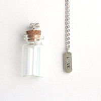 LOVE Mantra Charm, Silver Necklace with  in a tiny glass bottle packaging