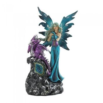 Gothic Fairy & Dragon Figurine