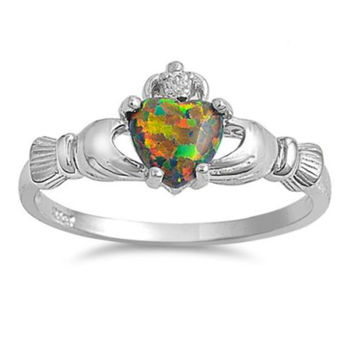 Sterling Silver Black Opal Claddagh Ring Size 4-12