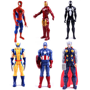 1pc 12 inches Titan Hero Series Marvel the Avengers Wolverine Figures PVC Toys Spider man Iron Man Thor action toys for boys