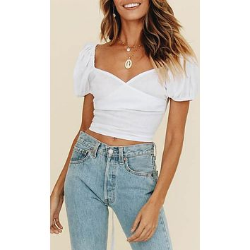 Out To Get You White Short Puff Sleeve Cross Wrap V Neck Lace Up Back Crop Top Blouse