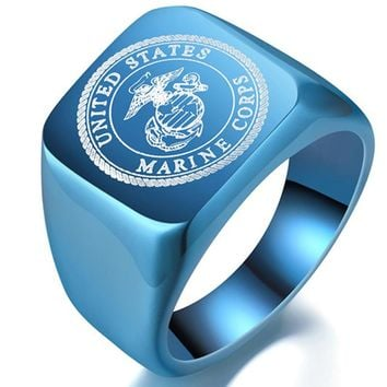 Fashion USMC Stainless Steel Ring Men US Army Marine Corps Titanium Punk Biker Ring Charm Jewelry Rings Drop Shipping Size 6-14