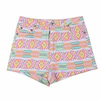ZLYC Women's Vintage Geometric Print Multicolored Low Waist Shorts Fitted Casual Summer Shorts