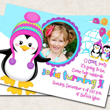Penguin Birthday Party Invitation, printable, personalized, pink blue purple (Digital File)