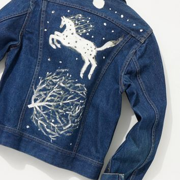 Free People Vintage 1970s Hand Painted Denim Jacket