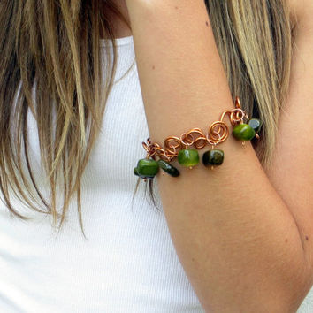 Lime Olive Green Bracelet Copper Wire Art Stone Charms Organic Jewelry