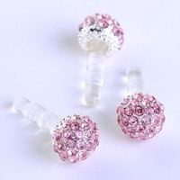 1pc 3.5mm Pink Crystal Disco Ball Anti Dust Plug Stopper for Iphone Ipad Cell Phone