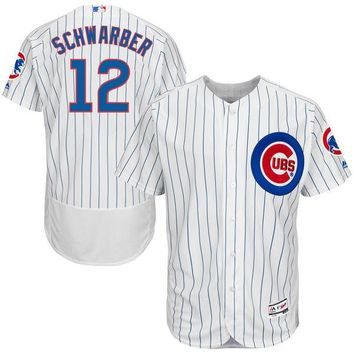 Men's Chicago Cubs Kyle Schwarber Majestic Home White/Royal Flex Base Authentic Collection Player Jersey