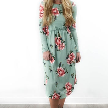Coconut Grove Mint Floral Midi Dress