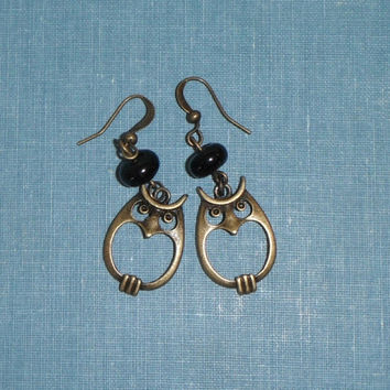 Black Glass Brass Owl Earring Dangle French Hook Gift under 20 fashion