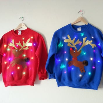 Couple's Light Up Ugly Christmas Sweaters- Rudolph and Clarice!!!