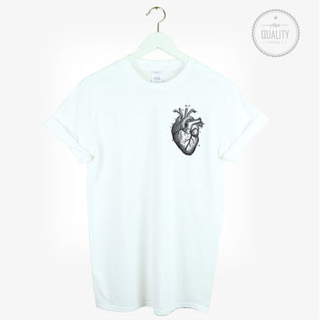 ANATOMICAL HEART t-shirt pocket print shirt tee unisex rad cute love friends tumblr pinterest instagram weed *brand new