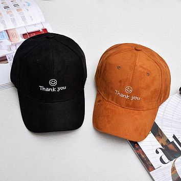 2017 New Arrival Autumn Korea Multi color suede cap THANK YOU embroidery baseball cap for women etters deus cap bone cappello