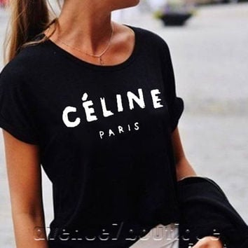 Celine Paris T-shirt, Tee Style Printed T-shirt ,women t-shirt, tshirt  t-shirt black white maroon gray