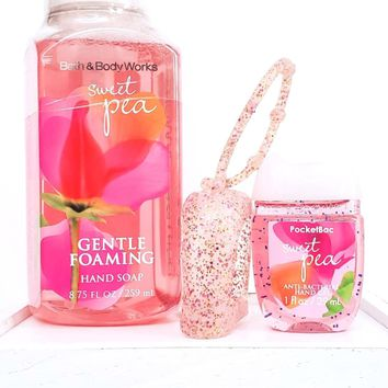Bath and Body Works Sweet Pea Foaming Hand Soap, PocketBac & Pink Holder