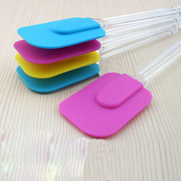 2pcs Silicone Kitchen Cake Cream Spatula Mixing Scraper Brush Butter Baking Tool