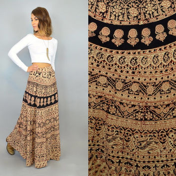 vtg 70s ETHNIC boho hippie gypsy high waist maxi WRAP SKIRT, extra small-medium