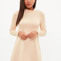 Missguided - Nude Roll Neck Swing Dress