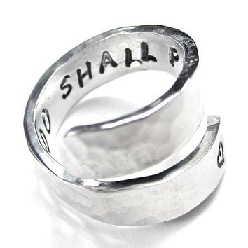 This too Shall Pass - Aluminum Wrap Ring, friendship ring, secret message ring, stamped ring, twist