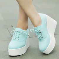 2015 new autumn floral canvas wedges shoes platform casual shoes lacing women's ultra high heels shoes women sneakers