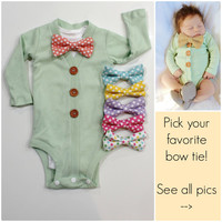 Baby Bow Tie Cardigan in MINT. Baby Boy Bowtie Outfit. Spring Bowtie cardigan for Newborn Boys . Infant Boy Easter St Patrick's Day