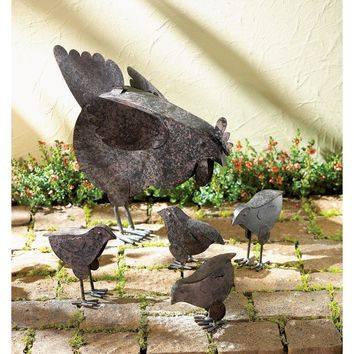 Country Hen With Chicks Sculpture Patio Garden Decor Chicken Yard Art 5 Piece Set