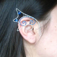 Blue & Silver Plated Handmade Dragon Ear Cuffs. Fantasy Jewellery, Mermaid Ear Cuffs, Pixie Ears, Fancy Dress Dragon,