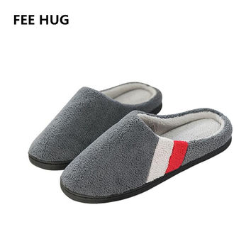 Euro Men's Home Slippers Winter Home Thermal Cotton-Padded Slippers For Men IndoorFloor Warm Slippers Flat Shoes Eu46-47 Size