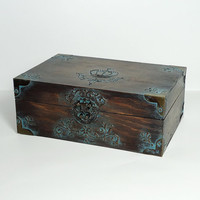 Personalized Hand Decorated Rustic Cigar Box / Trinkets Jewelry Box  / Distressed Box Brown / Antique Royal Box by Elena Joliefleur