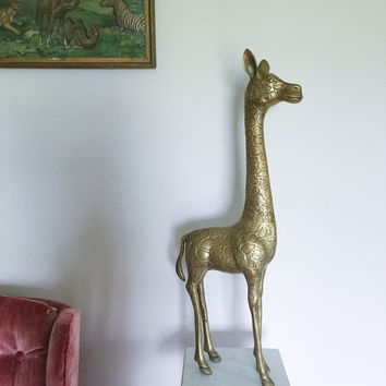 SALE / Large Vintage Mid Century Modern Brass Giraffe figurine for Boho Home Decor or Prop Display