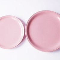 Retro Pink 1980s Vintage Set of 2 Plates Ceramics Decorative Pindish Collectible Plate Home Decor KIL Yugoslavia Kitchen Dining