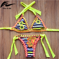 new dot Handmade Crochet Bikini set women crochet Swimsuit Brazilian bikini 2016 Crochet Swimwear Bathing Suit fashion biquini
