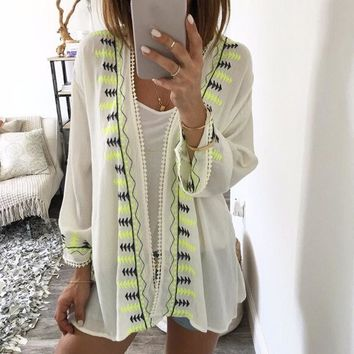 Embroided Chiffon  Shawl Kimono Cardigan Cover Up