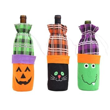 1pc Halloween Decoration Witch/Pumpkin/Cat Wine Bottle Set New Year Halloween Party Decoration Bottle Cover Navidad Home Decor.Q