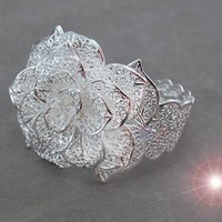 Rose Flower .925 Sterling Silver Ri.. on Luulla