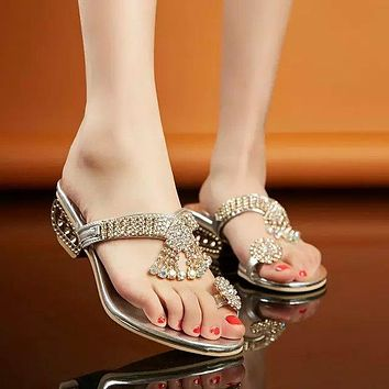Shinning Rhinestone Slip-on Unique Chunky Low Heels Slippers Sandals