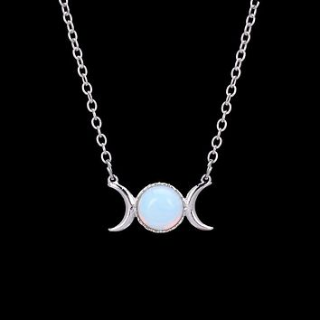 Crescent Moon&Sun Pendant Necklace Natural Stone Opal Silver Color Necklace Pink Crystal Sailor Moon Necklace Women