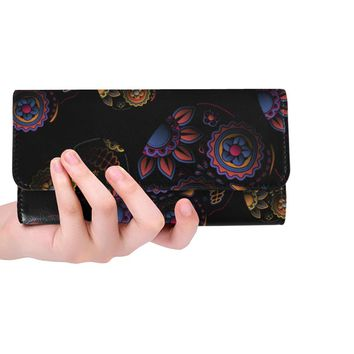 Sugar Skull Women's Trifold Long Clutch Wallets
