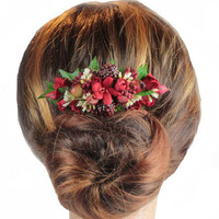 Winter Wedding Hair Comb, Berry Hair Comb,  Brides Hair Comb, Floral Hair Comb,