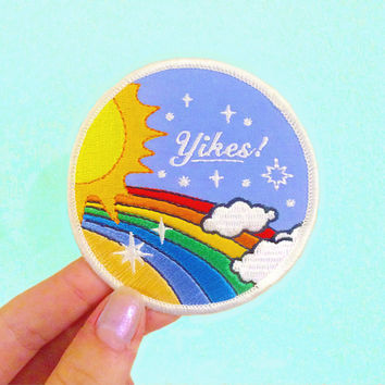 Yikes! Retro Rainbow Iron on Patch, Funny Sew on Patch, Patches for Jackets