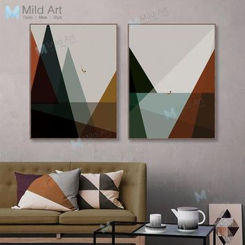 Modern Abstract Landscape Mountain Sea Poster Print Hipster Vintage Retro Wall Art Picture Nordic Home Deco Canvas Painting Gift