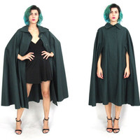 Vintage Givenchy Cape Military Green Jacket Paris Designer Vintage 60s 70s Draped Cotton Cape Trench Coat Epaulets Poncho