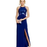 Morgan & Co. Sequin Embellished Bodice Illusion Waist Gown   Dillards