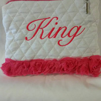 Monogrammed Quilted Zippered Pouch-Bag-Clutch Purse- Custom Made