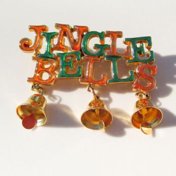 Christmas JINGLE BELLS with dangling Bell Brooch Pin Vintage xmas jewelry