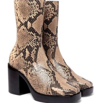 ONETOW balenciaga snake effect leather boots 2
