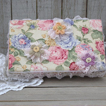 Jewelry Box, Shabby Chic, Flowered, Lace, Upcycled, Pink, Ring Holder, Vintage